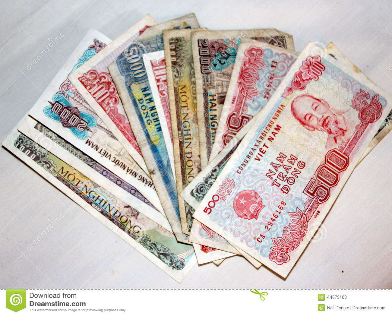 vietnamese money dong currency small tatty notes stock photo   image 44673103