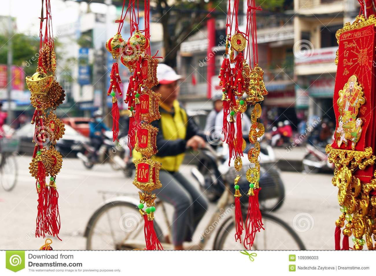 Vietnamese New Year Decoration On A Blurred Background Of ...