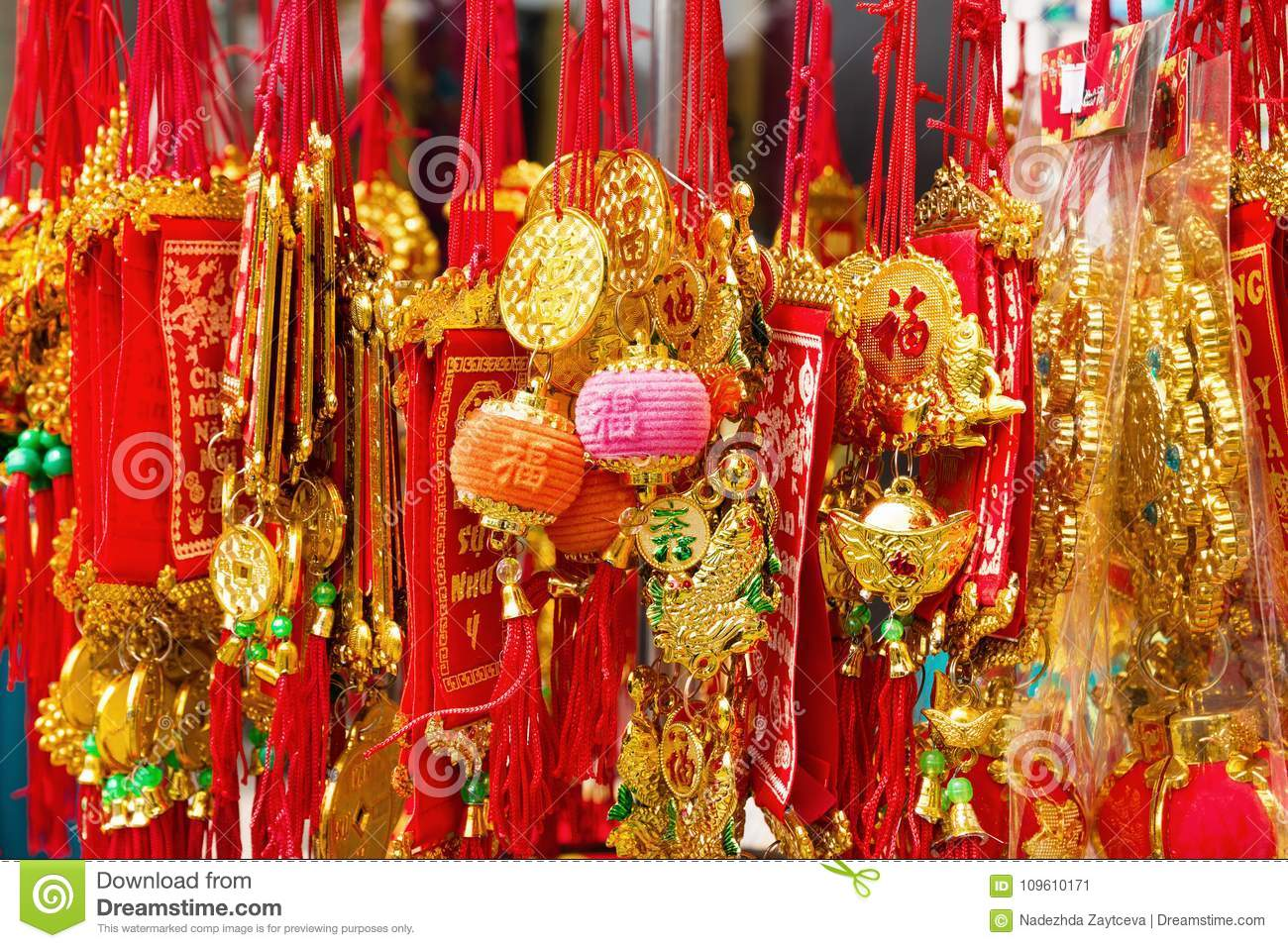 Vietnamese New Year Decorations Red And Gold Colors On A ...