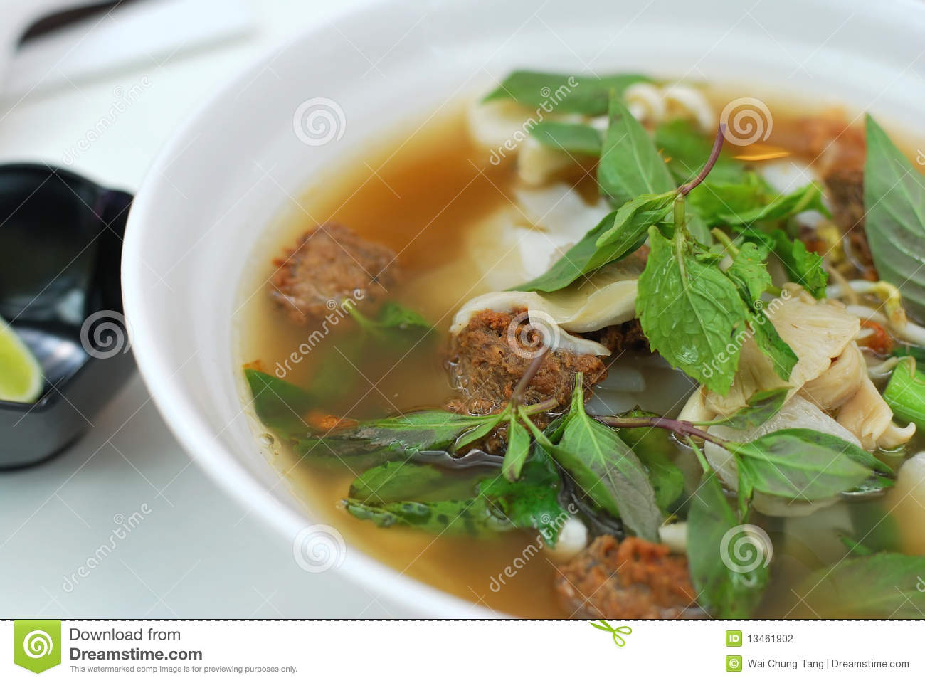 Sumptuous looking Vietnamese style noodle soup consisting of mock meat ...