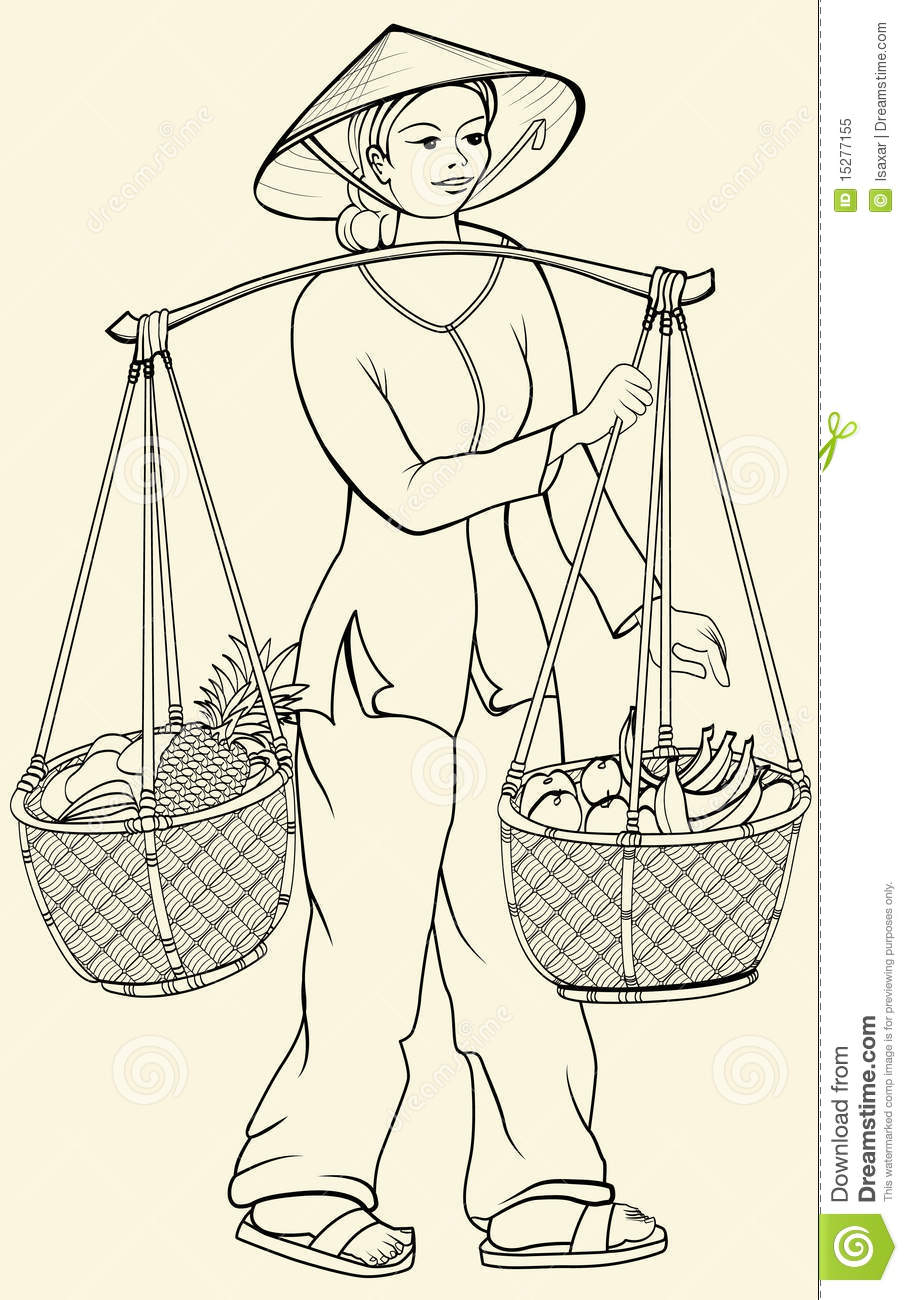 Vietnamese Woman Going To The Market Royalty Free Stock Photo - Image ...