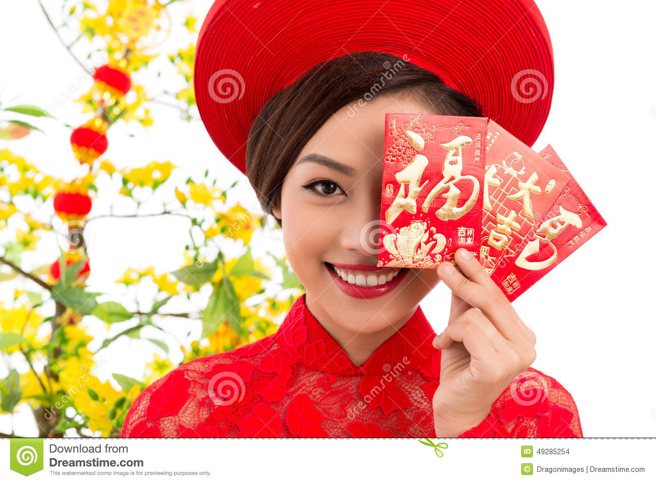 Vietnamese woman with tet greeting cards stock photo image of download vietnamese woman with tet greeting cards stock photo image of asian charming m4hsunfo