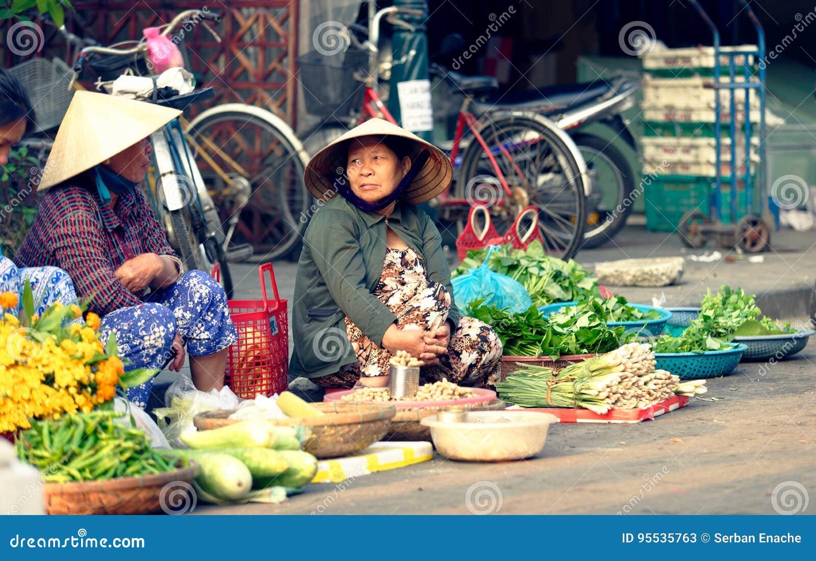 8cde2c055e4 Vietnamese Women Selling Vegetables On Street Editorial Stock Photo ...