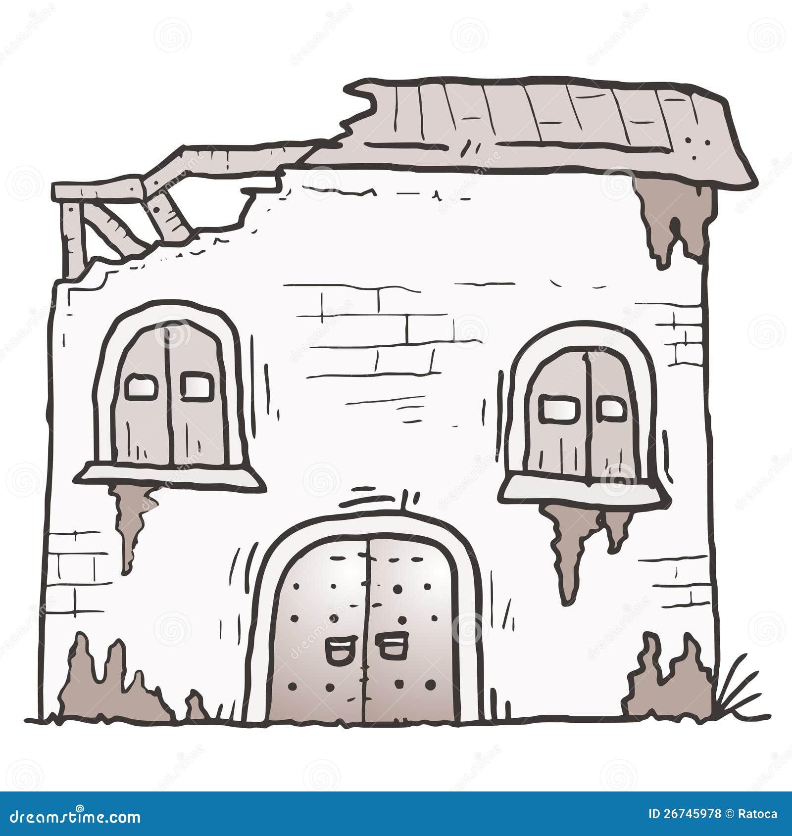 Maison En Ruine Dessin vieux boyau de dessin animé illustration de vecteur