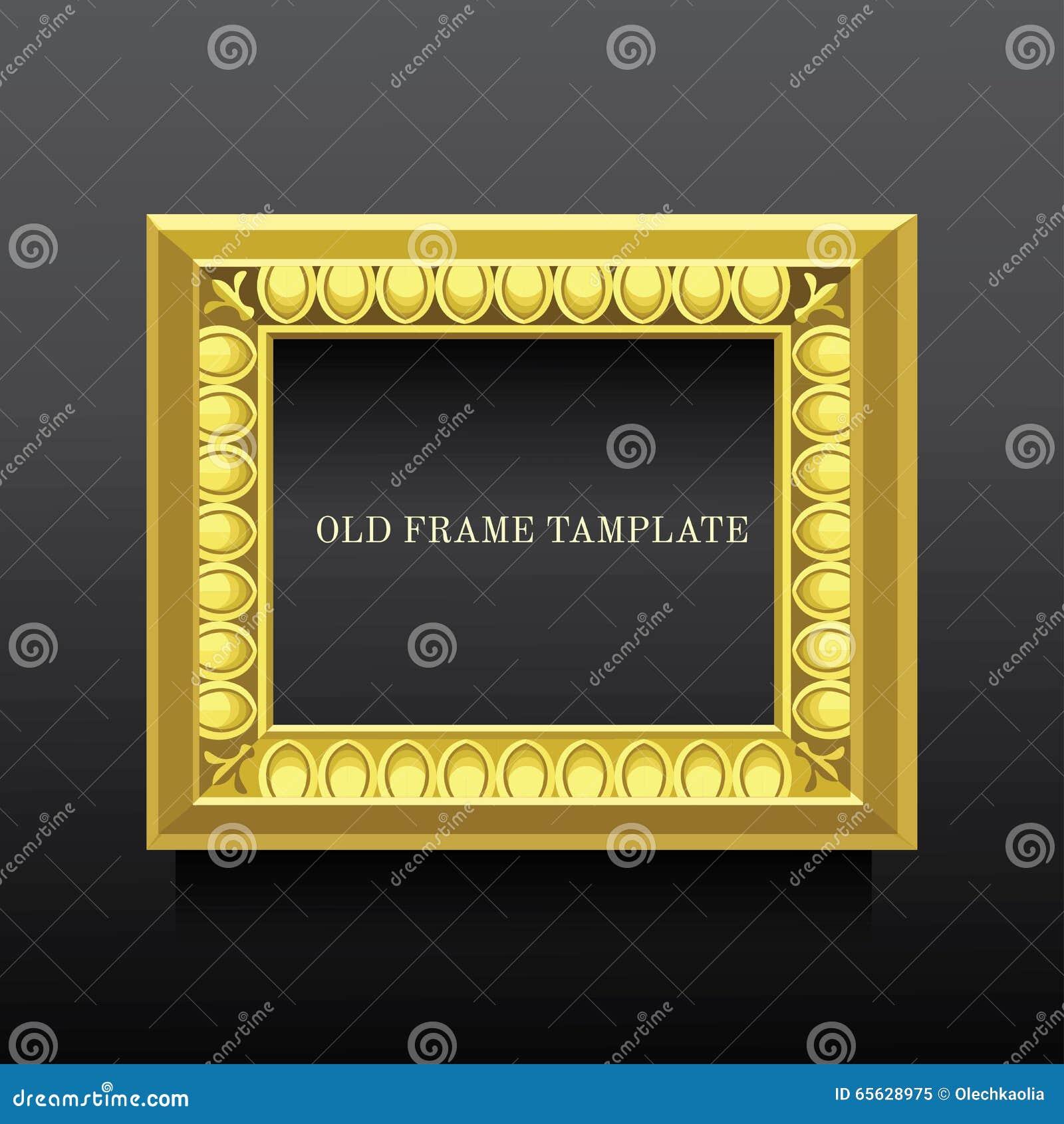 Vieux cadre classique d or avec l ionics sur le fond foncé