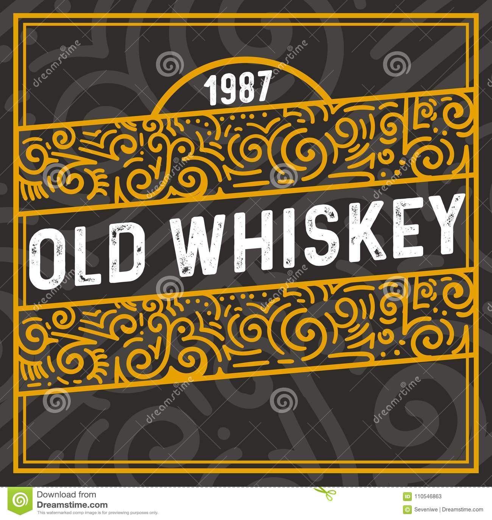 Vieux Cadre De Décoration De Whiskey Avec Le Texte De Vintage Et Les