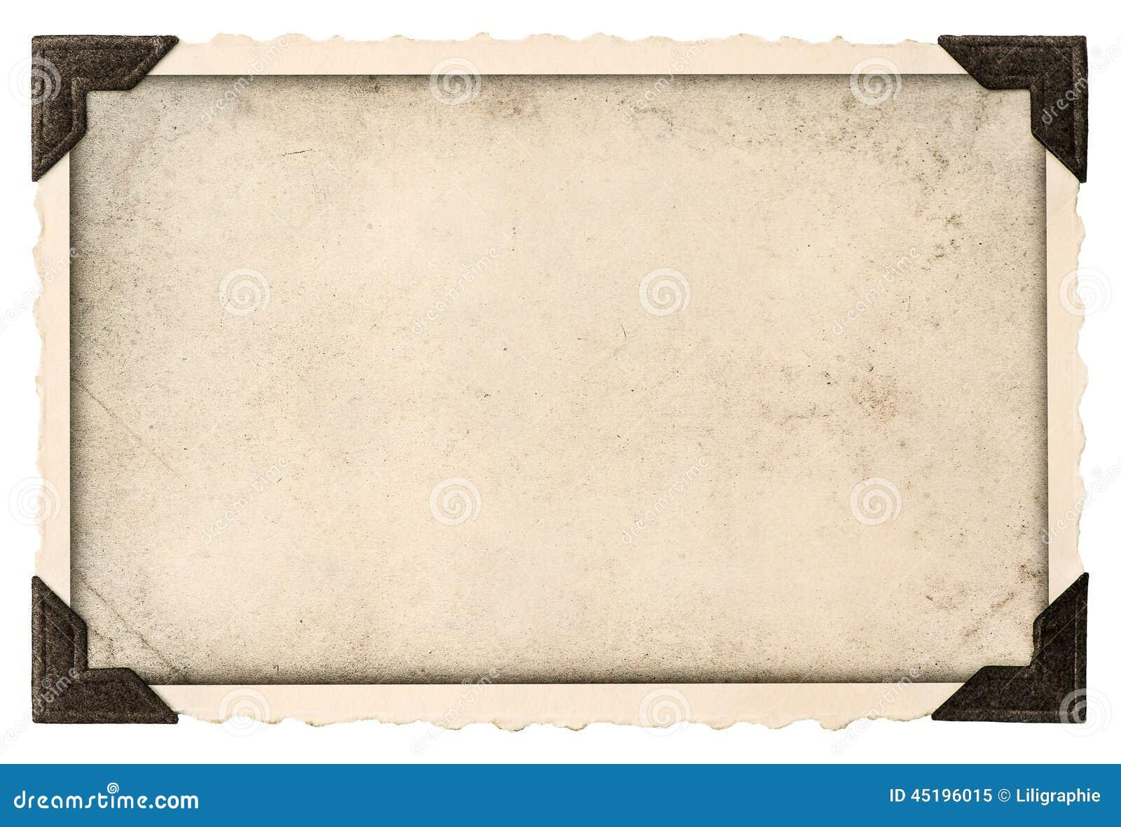 Vieux cadre de photo avec le champ faisant le coin et vide pour votre photo