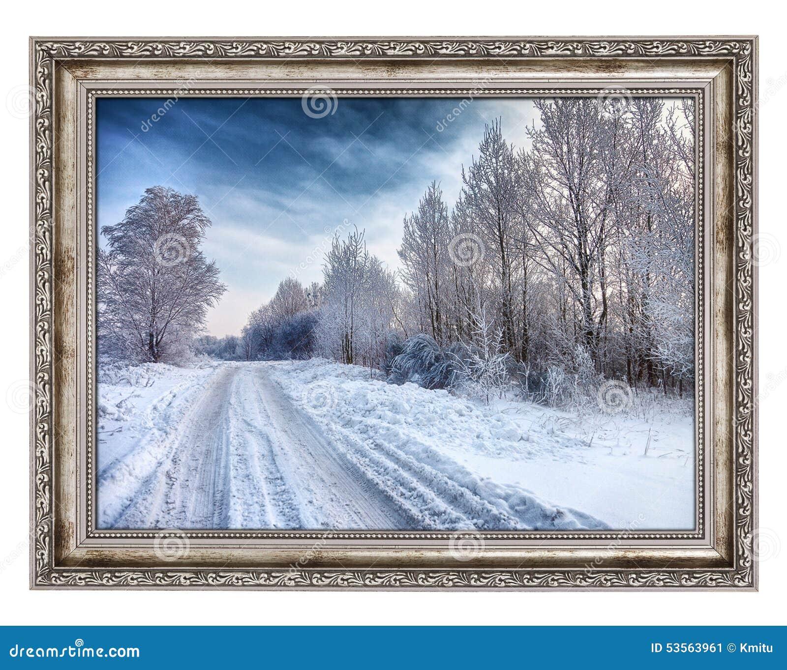 vieux cadre en bois avec le beau paysage d 39 hiver image stock image du pays antiquit 53563961. Black Bedroom Furniture Sets. Home Design Ideas