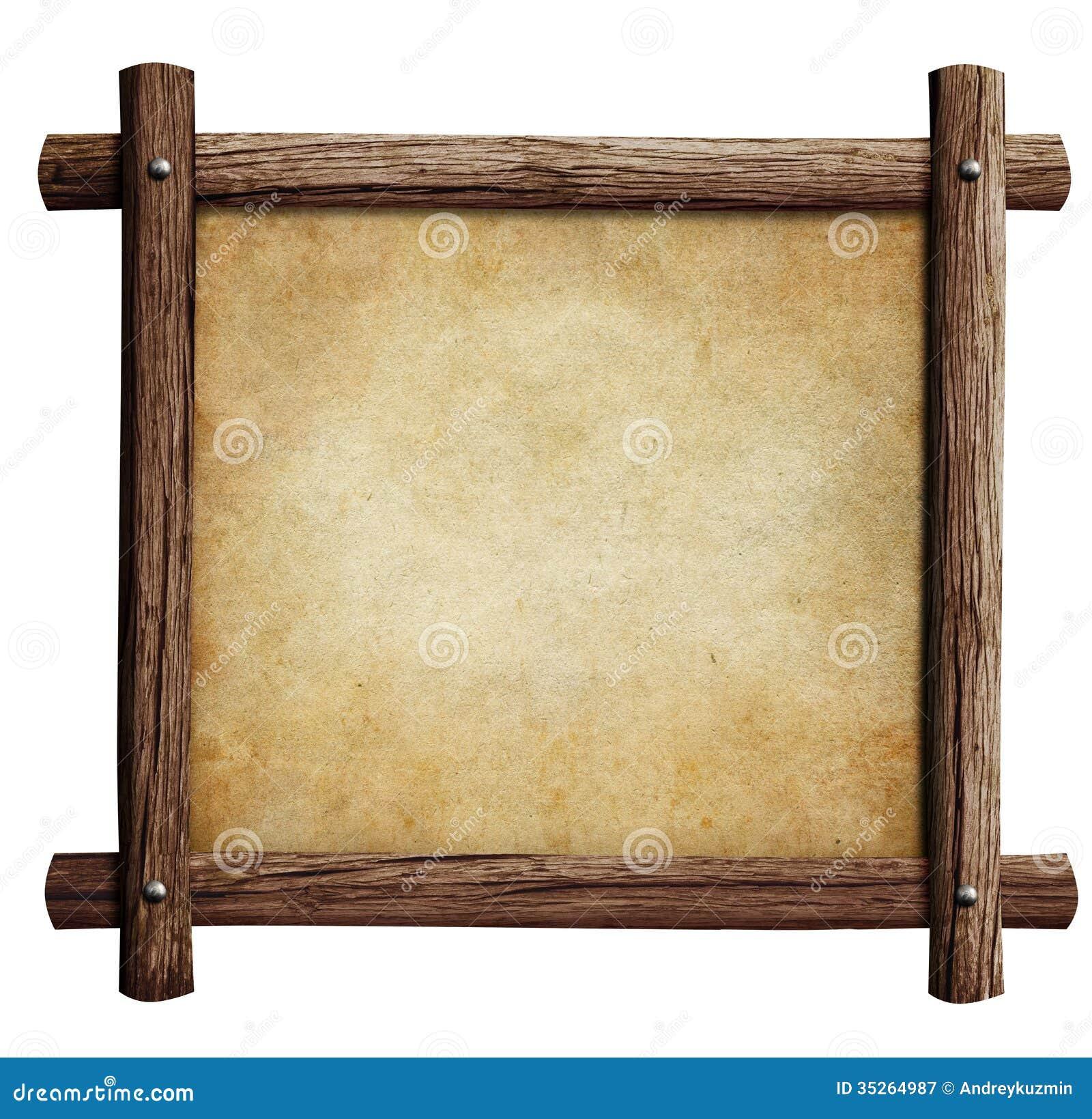 vieux cadre en bois avec le fond de papier ou de parchemin. Black Bedroom Furniture Sets. Home Design Ideas