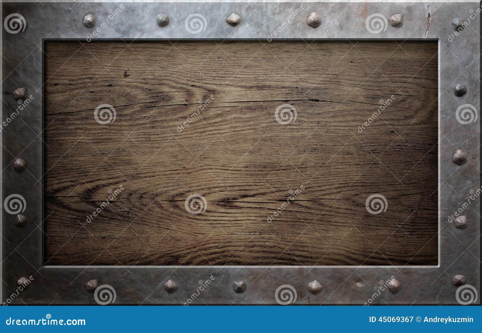 vieux cadre en m tal au dessus de fond en bois image stock image du rouill histoire 45069367. Black Bedroom Furniture Sets. Home Design Ideas