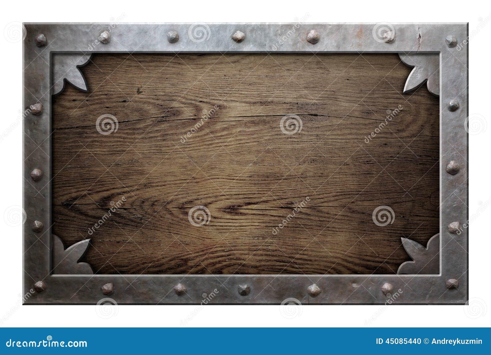 vieux cadre en m tal au dessus de fond en bois photo stock. Black Bedroom Furniture Sets. Home Design Ideas