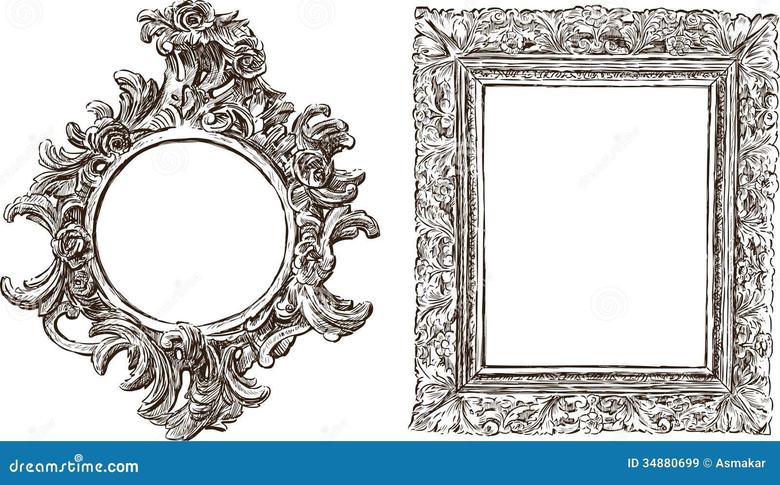 Vieux Cadres Fleuris Illustration De Vecteur Illustration