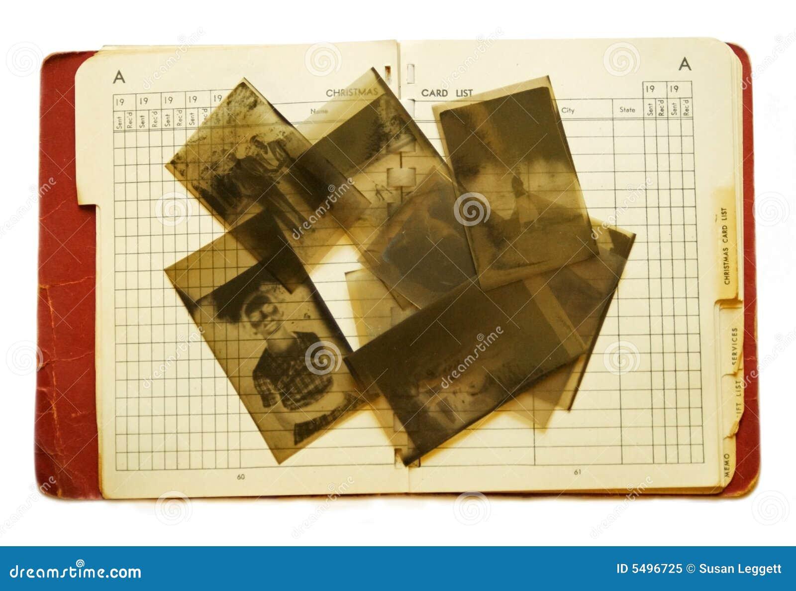 Vieux carnet d adresses et négatifs