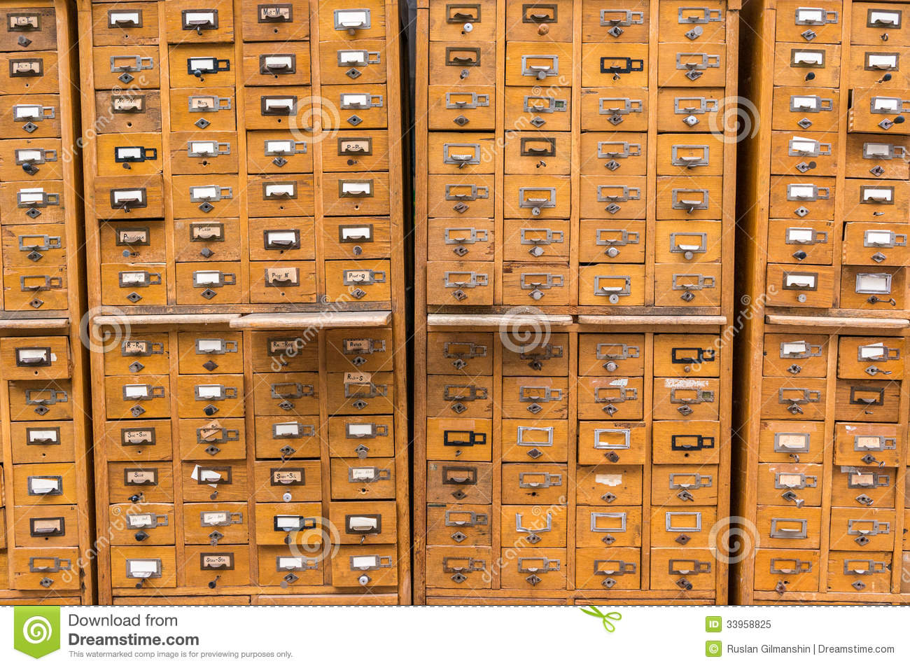 Classeur En Bois Antique : Wooden Card Catalog