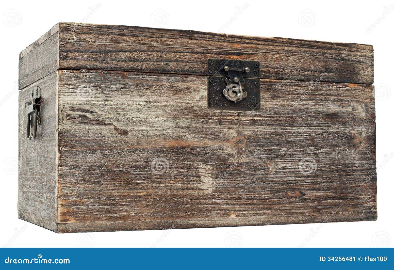 vieux coffre en bois verrouill image stock image 34266481. Black Bedroom Furniture Sets. Home Design Ideas