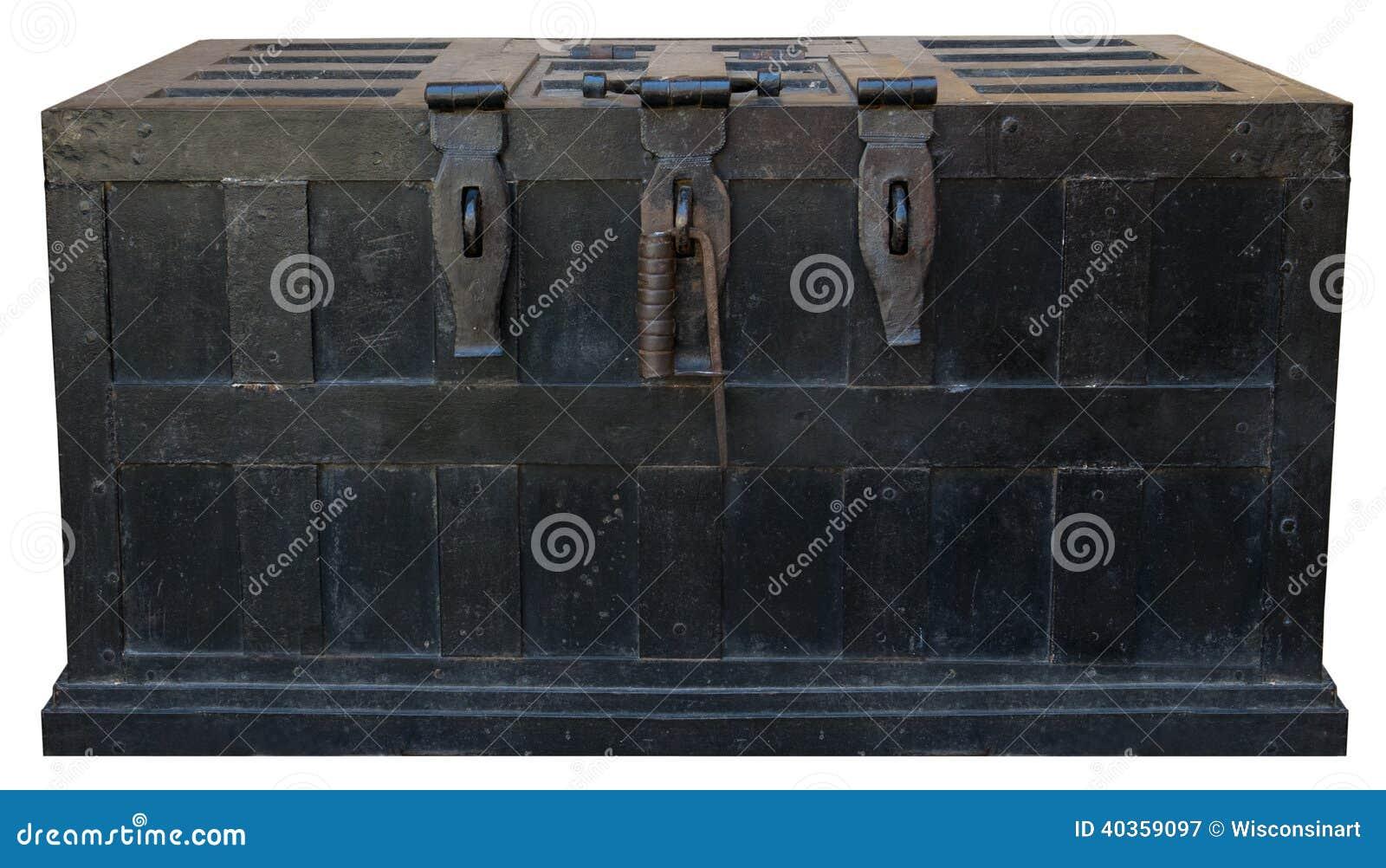 Vieux coffre-fort de fer de coffre au trésor de pirate de vintage
