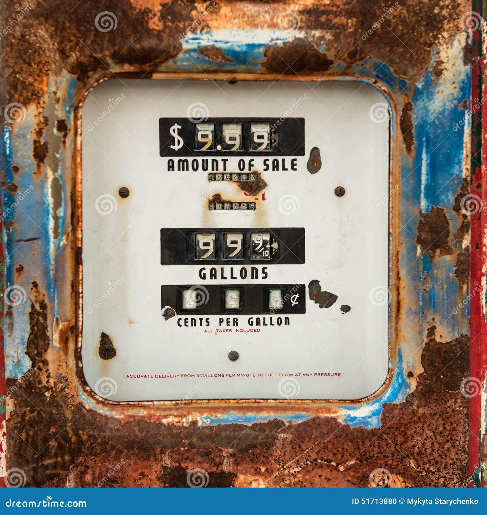 vieux compteur rouill sur la r tro pompe d 39 essence illustration stock image 51713880. Black Bedroom Furniture Sets. Home Design Ideas