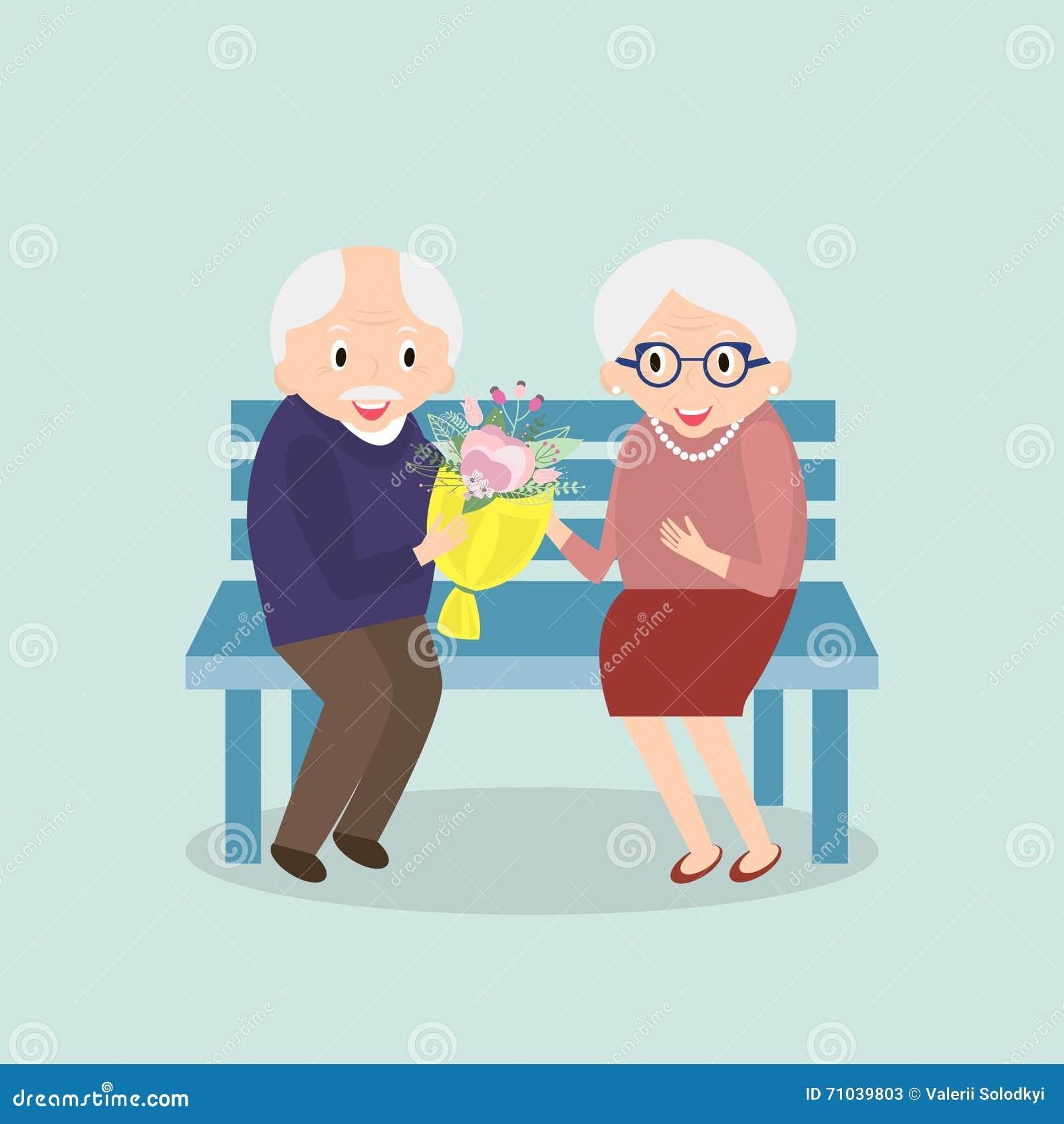 Vieux couples ensemble Loisirs heureux d aînés Grand-papa et grand-maman s asseyant sur le banc Illustration de vecteur