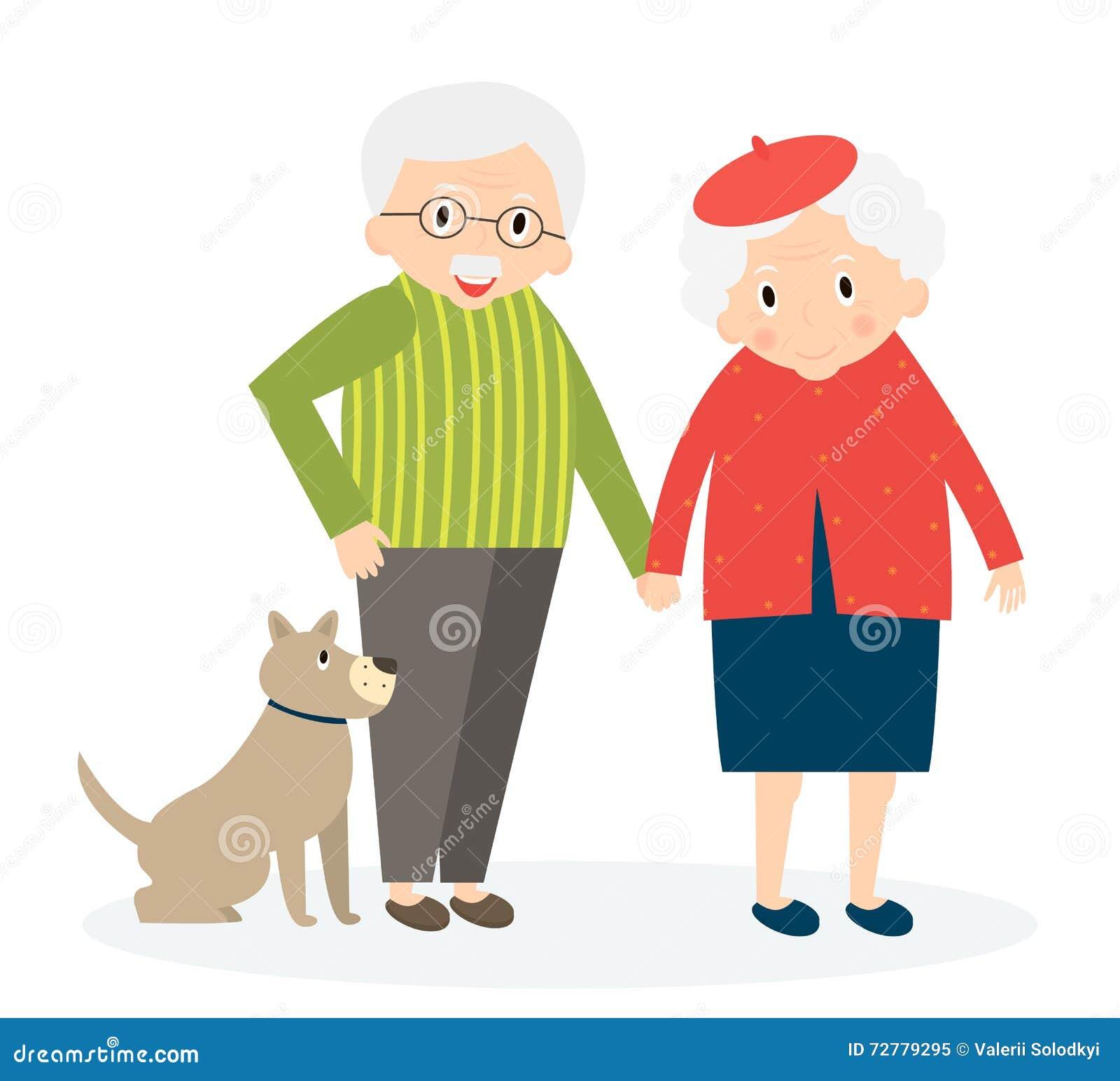 Vieux couples heureux ensemble