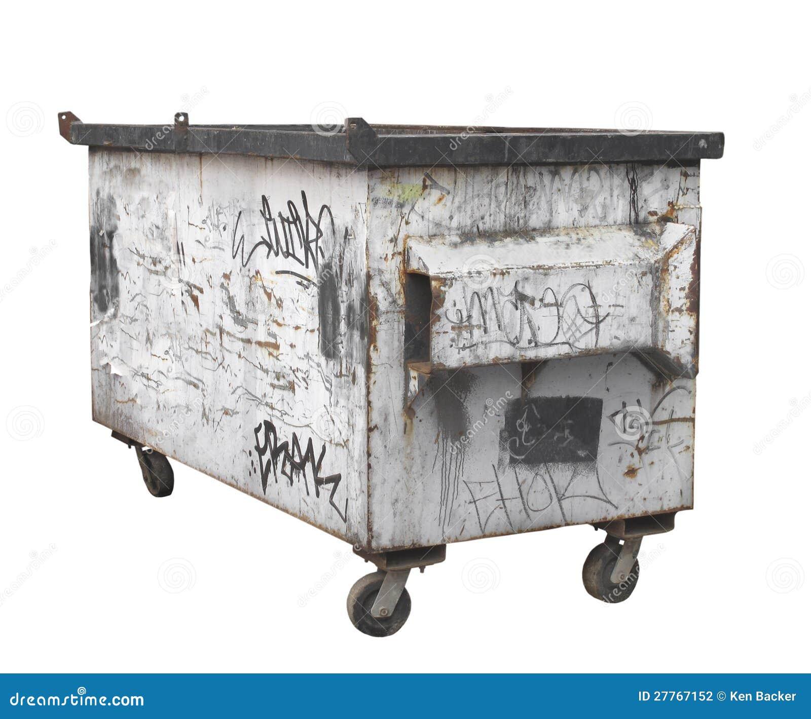 Vieux décharge rouillé blanc d ordures d isolement.