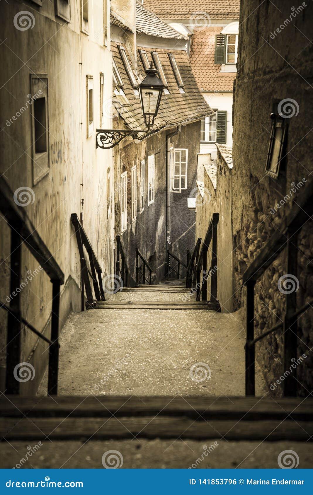 Vieux escaliers de ville, ville supérieure, Zagreb, Croatie