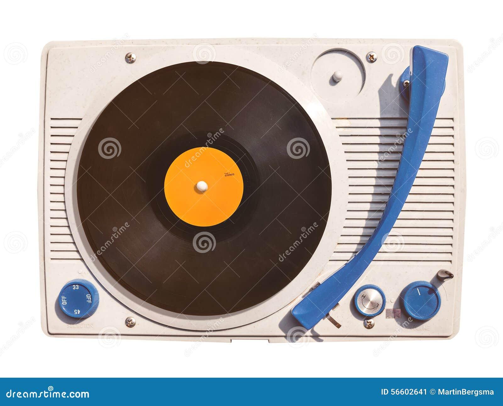 vieux joueur de plaque tournante de vinyle avec le disque d 39 isolement sur le blanc photo stock. Black Bedroom Furniture Sets. Home Design Ideas