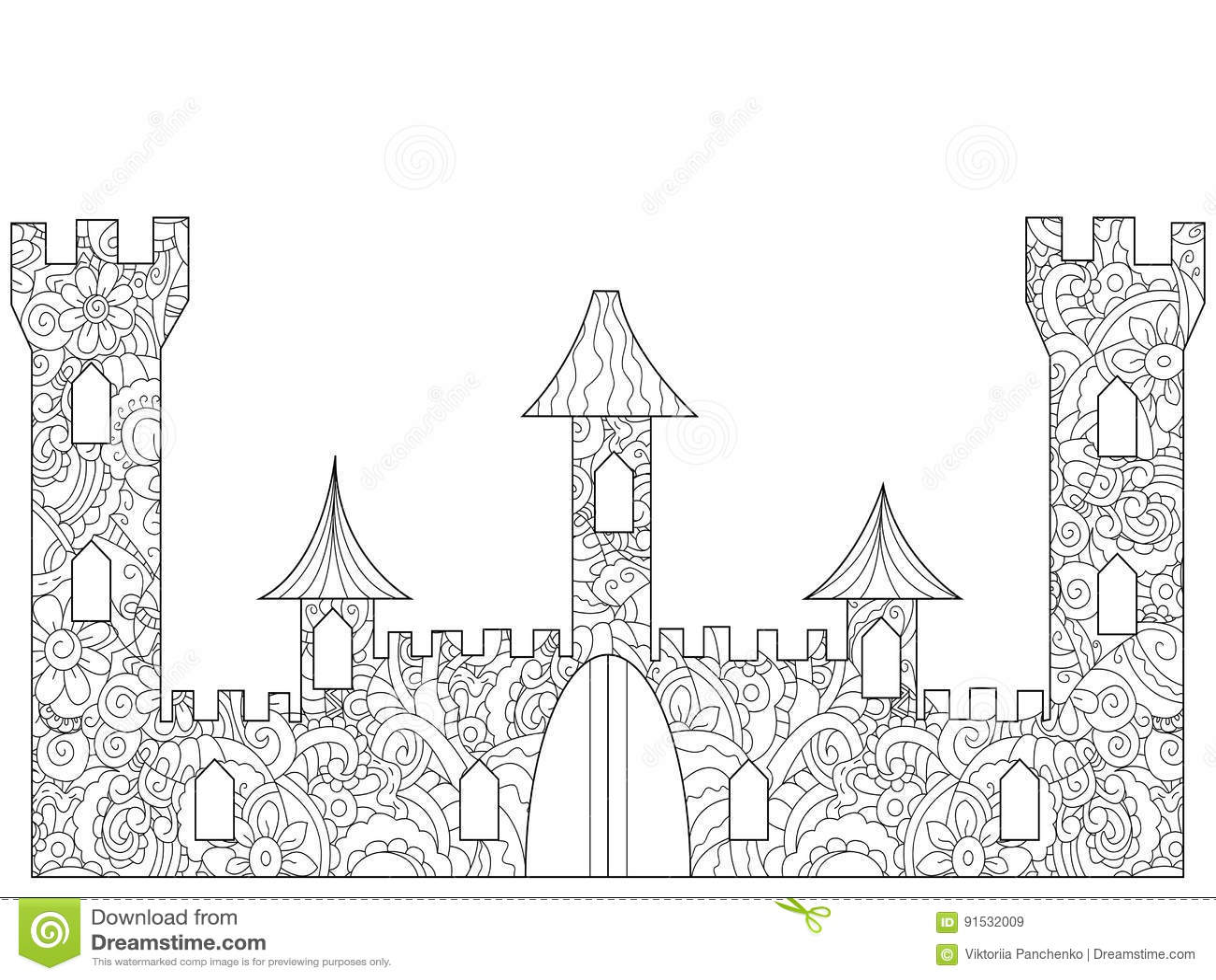 Coloriage Adulte Batiments.Vieux Livre De Coloriage De Chateau Pour Des Adultes Illustration De