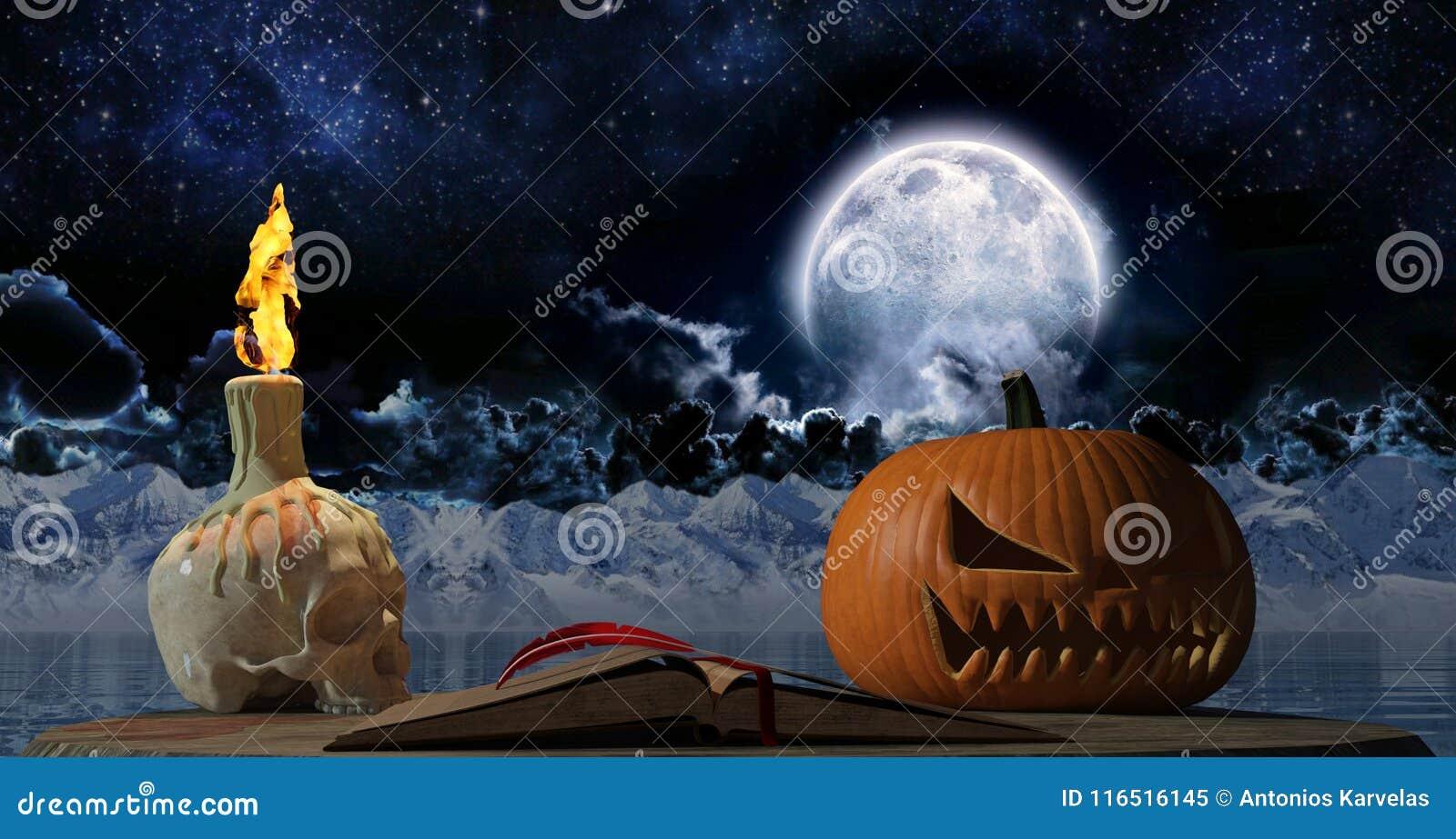 Vieux Livre De Halloween De Vintage Avec La Bougie De Crane