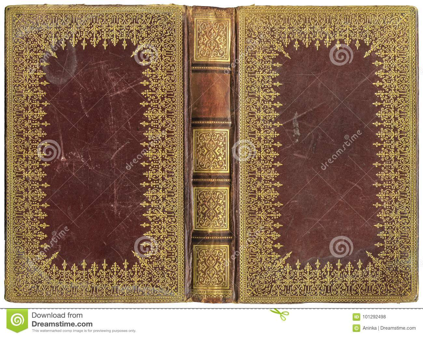 Vieux Livre Ouvert Couverture En Cuir Vers 1895 Photo