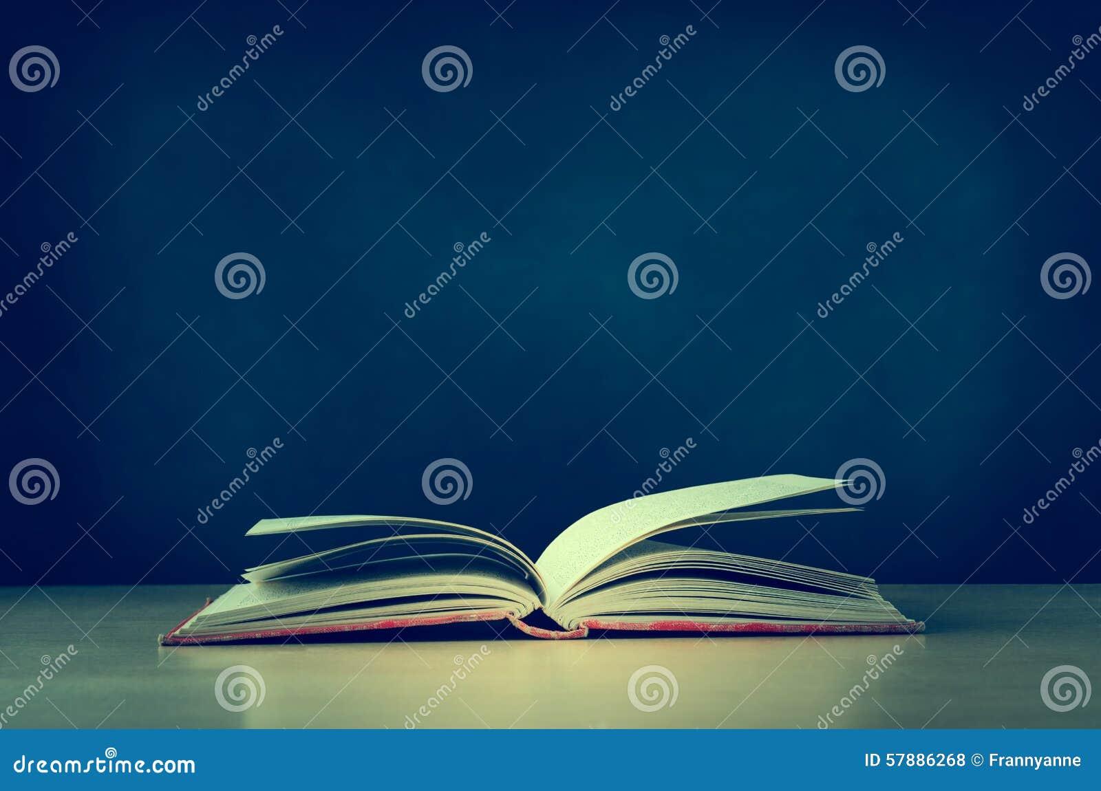 Vieux livre ouvert sur le bureau avec le tableau à larrière plan