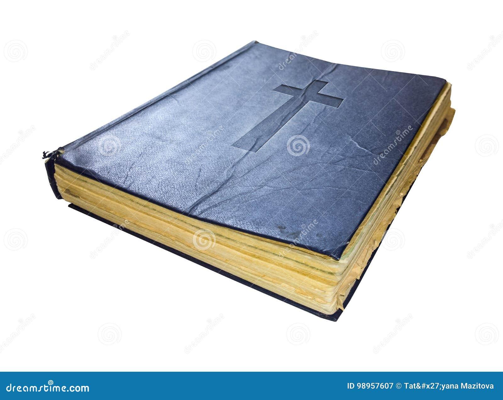 Vieux livre sacré saint de bible d isolement sur le fond blanc