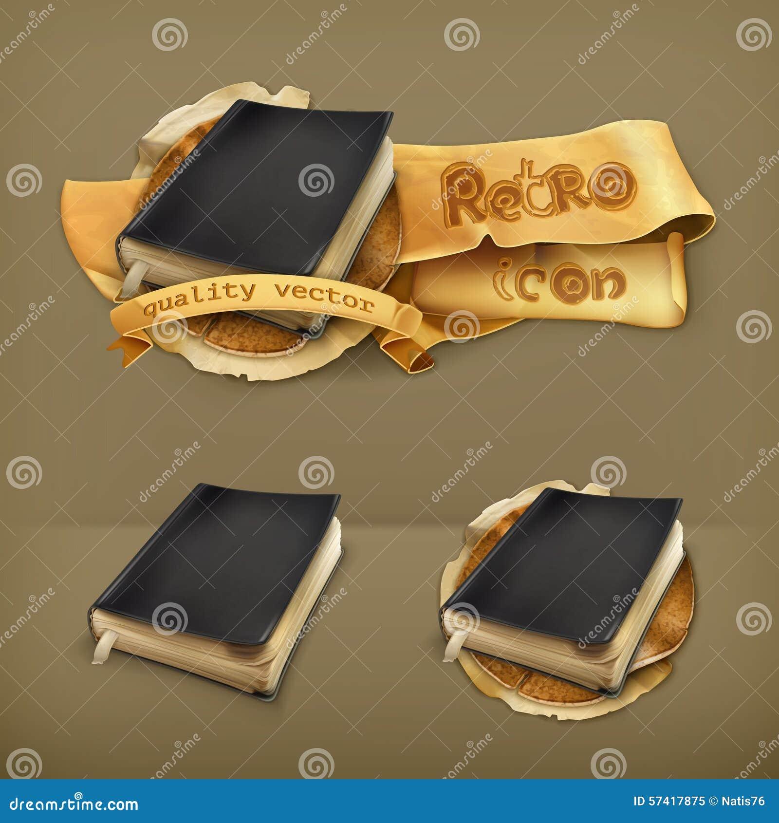 Vieux livres, icônes de vecteur