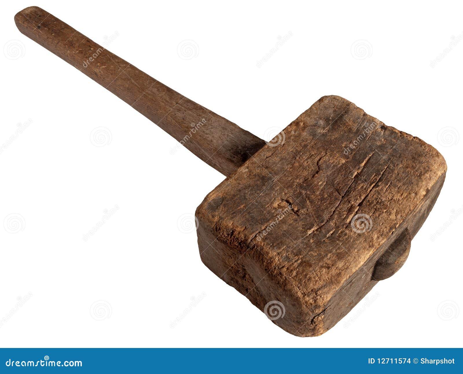 vieux marteau en bois de maillet d 39 isolement sur le blanc images stock image 12711574. Black Bedroom Furniture Sets. Home Design Ideas