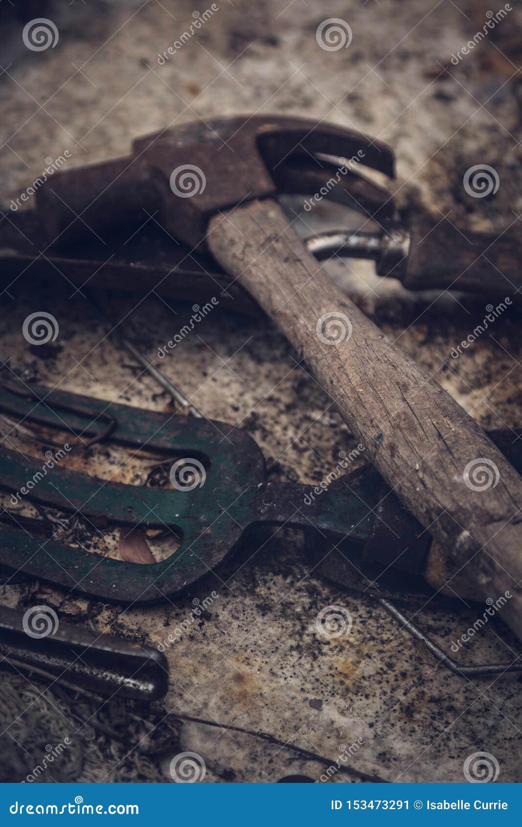 Vieux marteau et outils de jardinage