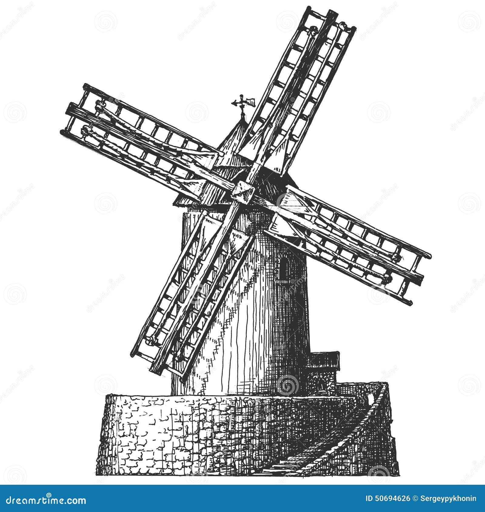 vieux moulin sur un fond blanc croquis illustration stock image 50694626. Black Bedroom Furniture Sets. Home Design Ideas