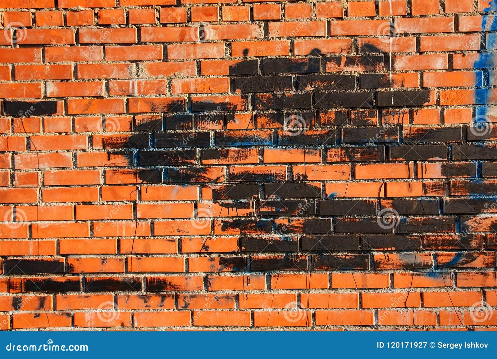 Vieux Mur De Briques Avec Des Taches De Peinture De Couleur