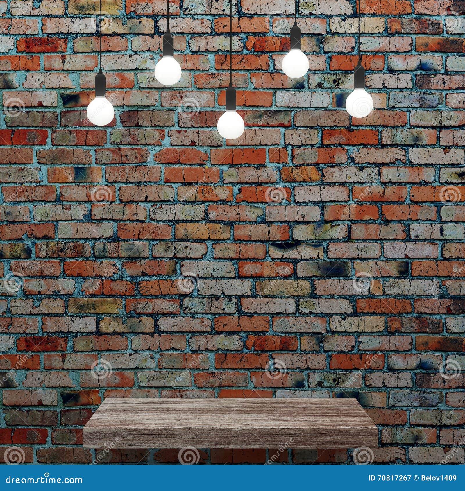 Etagere Sur Mur En Brique vieux mur de briques avec l'étagère en bois et les ampoules