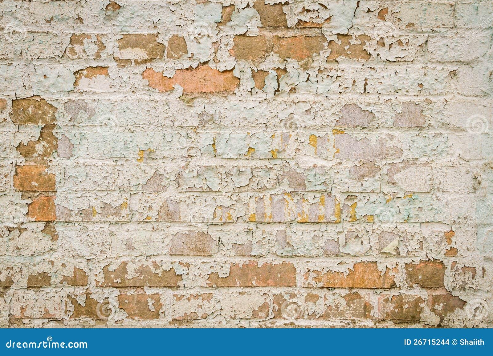 Vieux mur de briques avec la peinture d 39 caillement images - Peinture effet brique ...