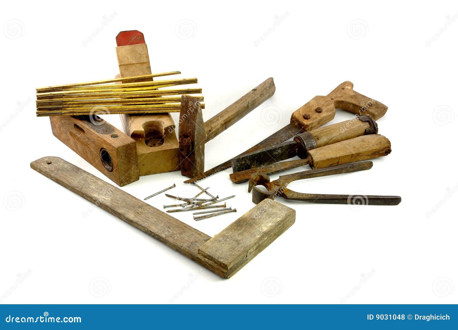 vieux outils de charpentier en bois photos libres de droits image 9031048. Black Bedroom Furniture Sets. Home Design Ideas