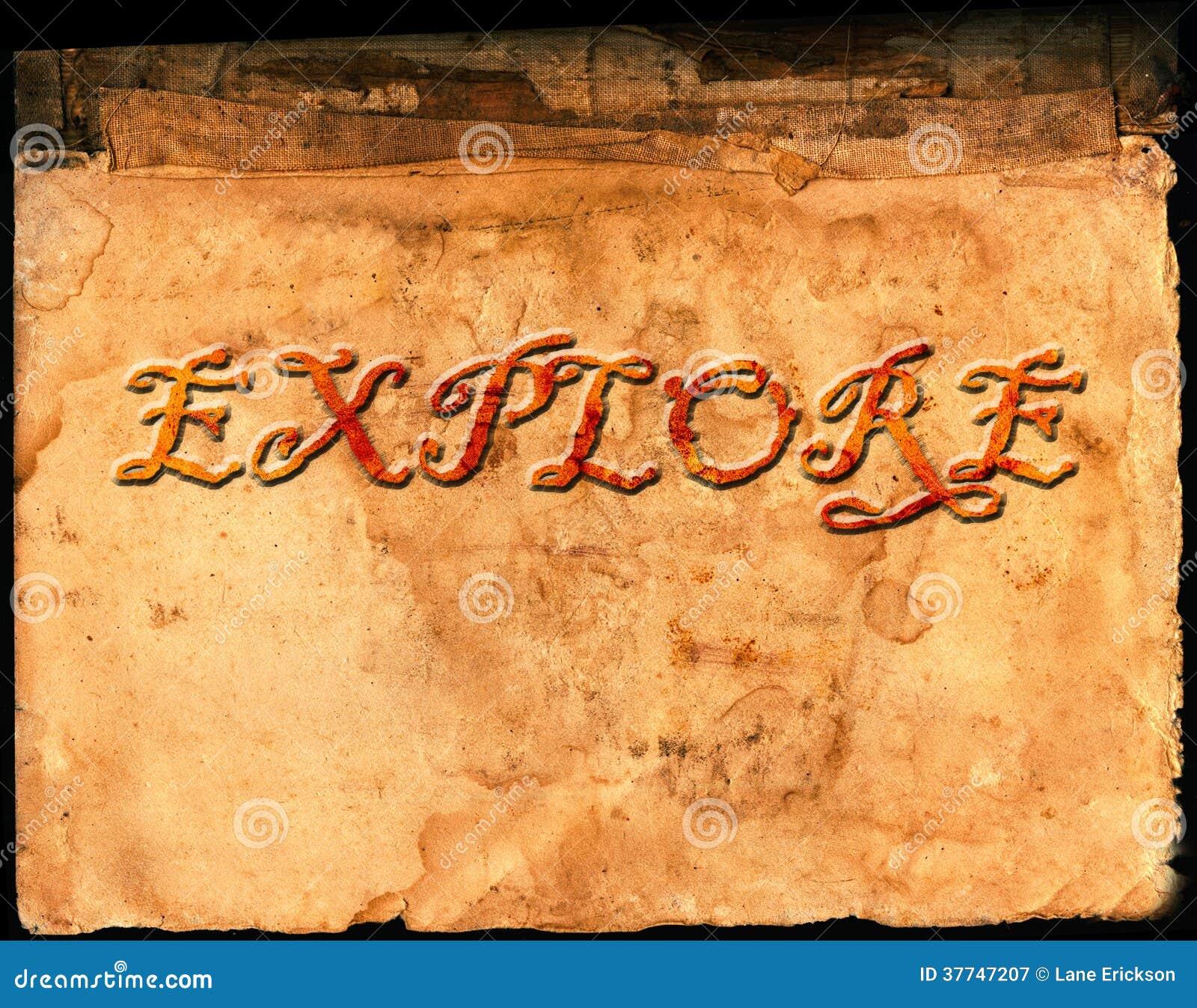 Vieux papier parcheminé avec l exploration de Word