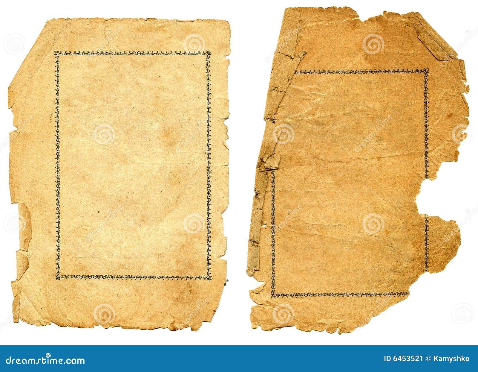Vieux papier texturisé avec le bord décrépit.