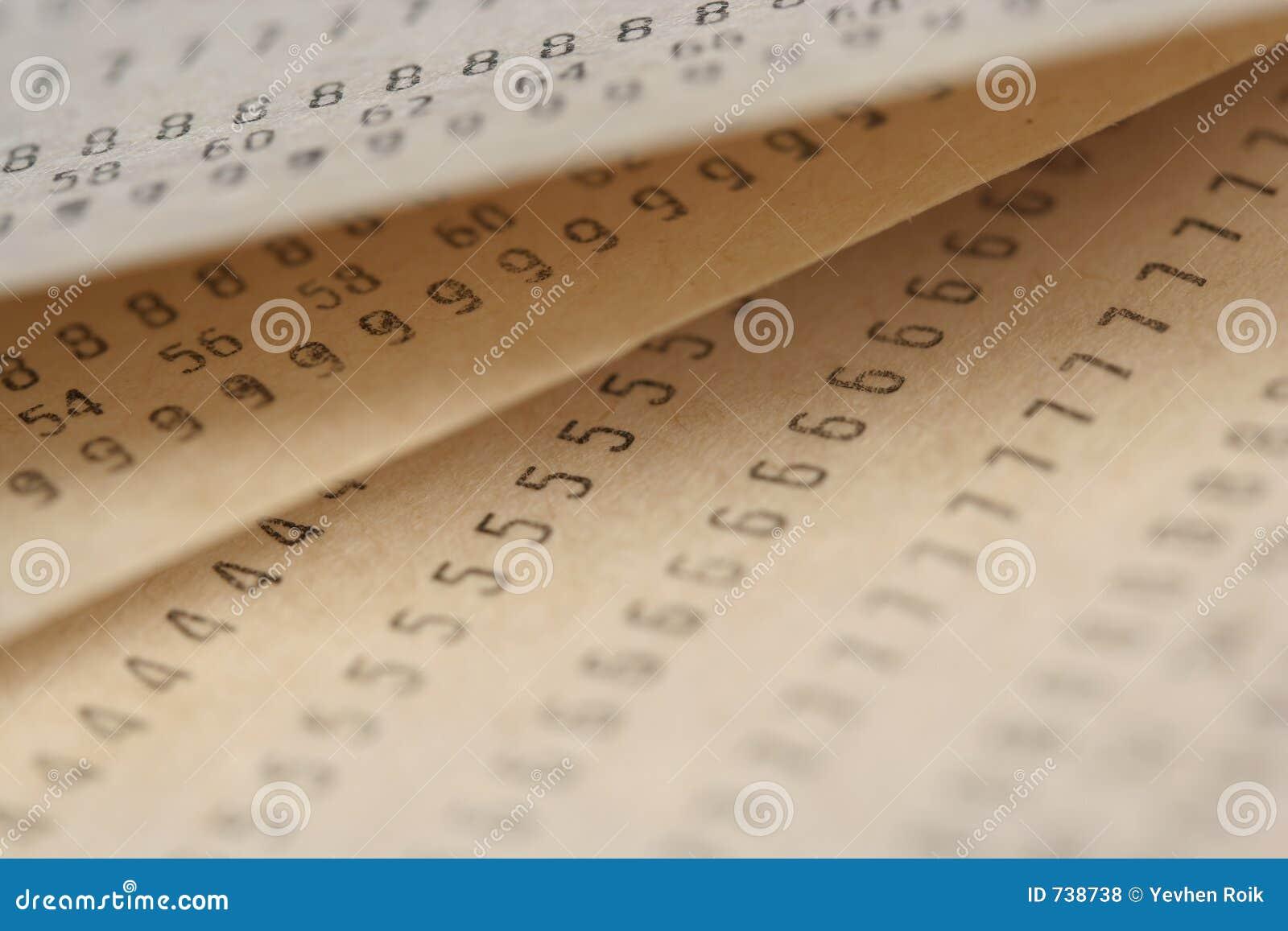 Vieux papiers avec des numéros