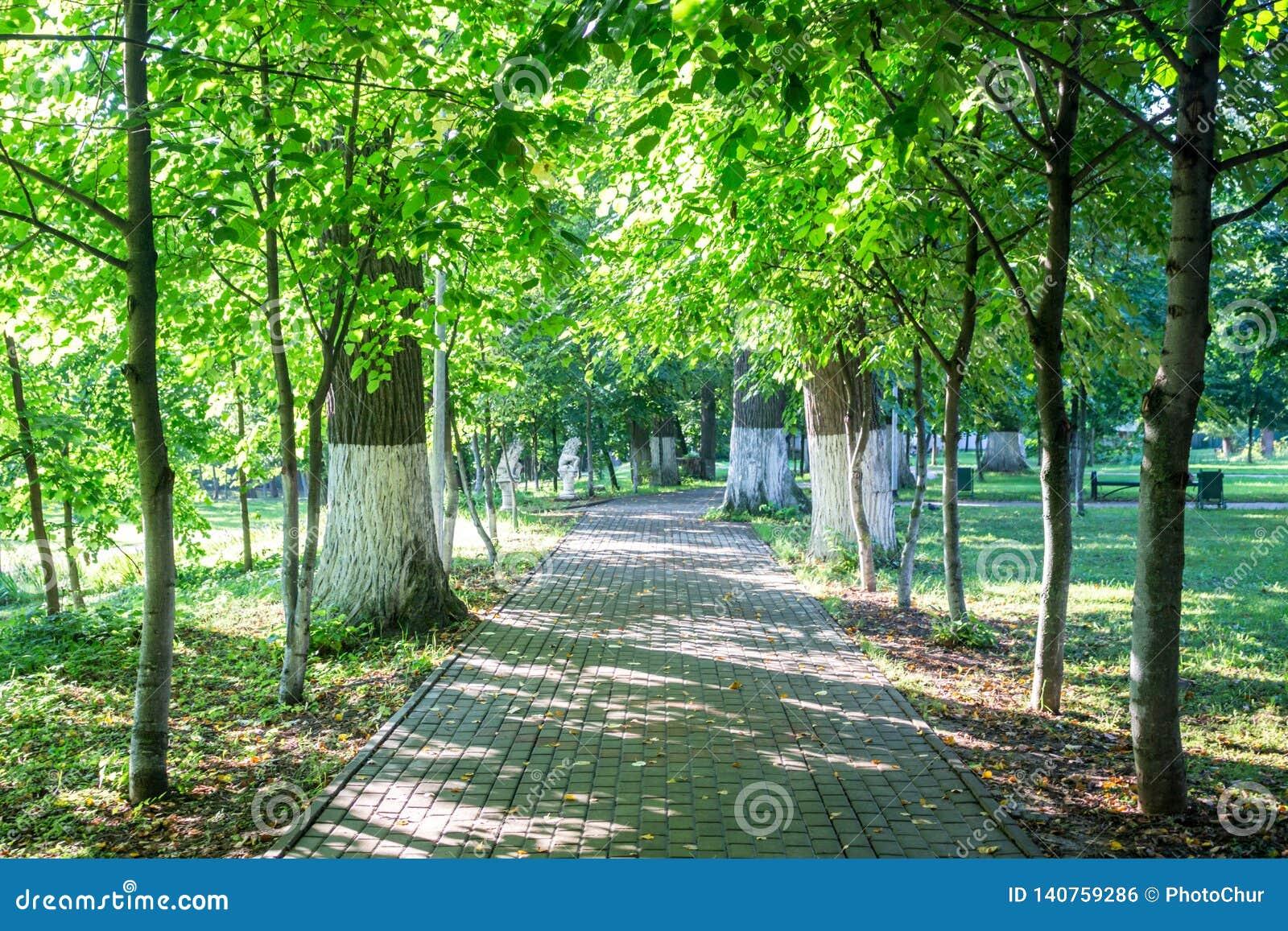Vieux parc-manoir Belkino dans le jour d été