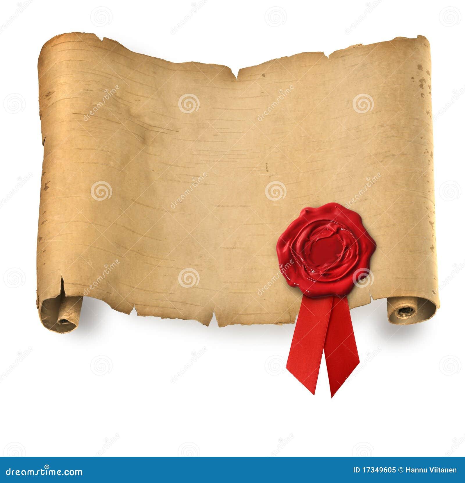 Vieux parchemin avec le sceau rouge de cire