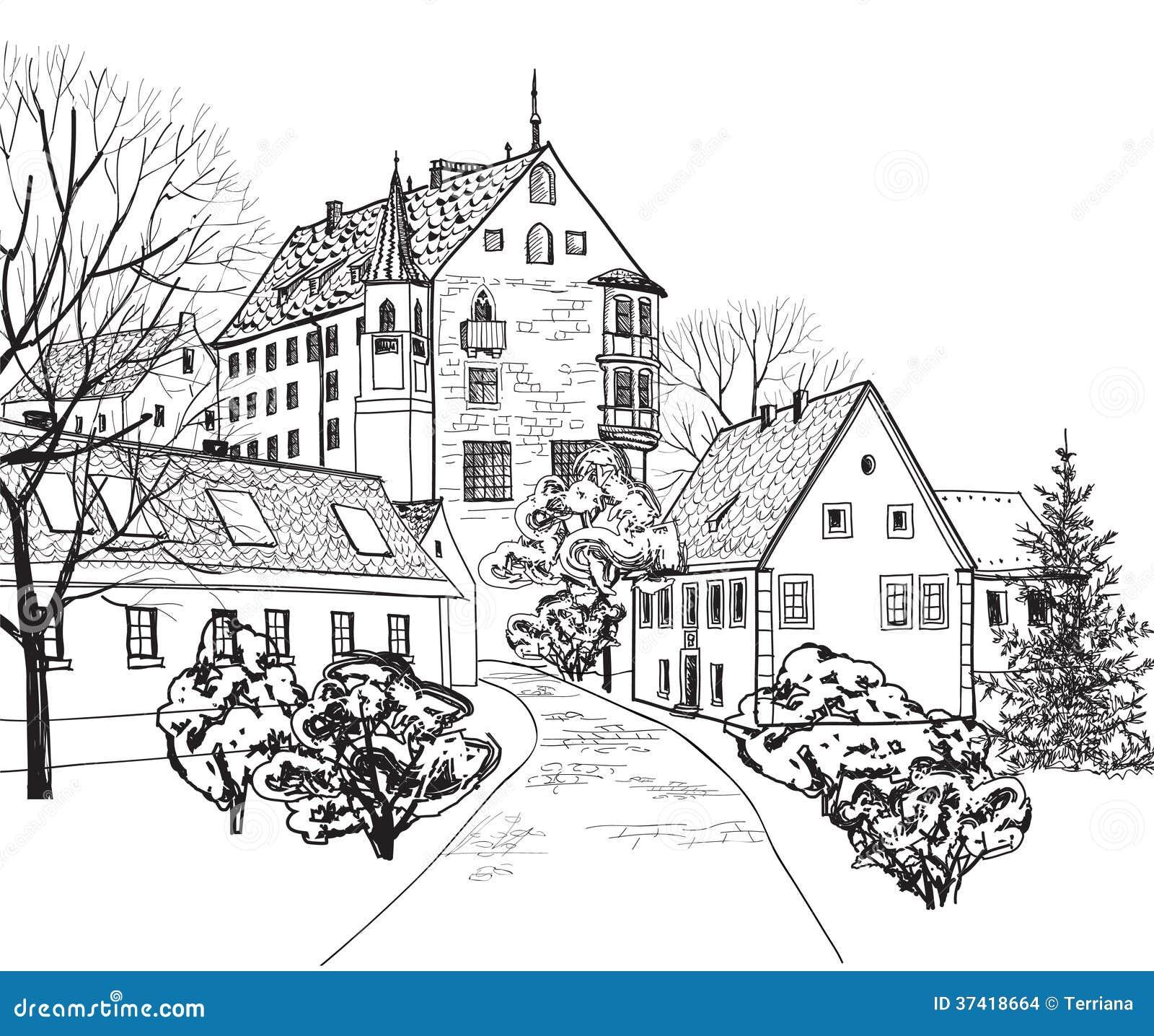 vieux paysage urbain de ville avec la rue croquis du b timent historique et de la maison. Black Bedroom Furniture Sets. Home Design Ideas