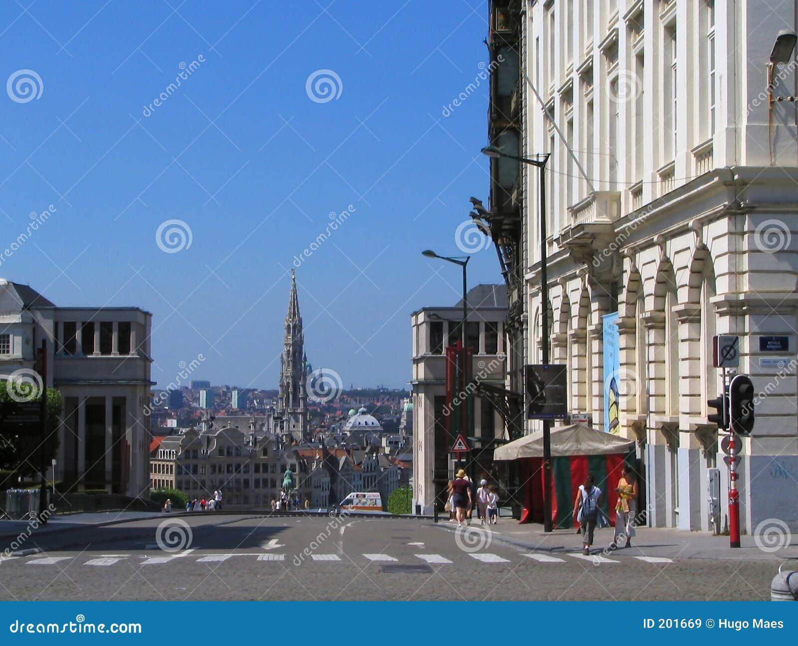 Vieux paysage urbain du centre de bruxelles image stock for Hotel piscine bruxelles