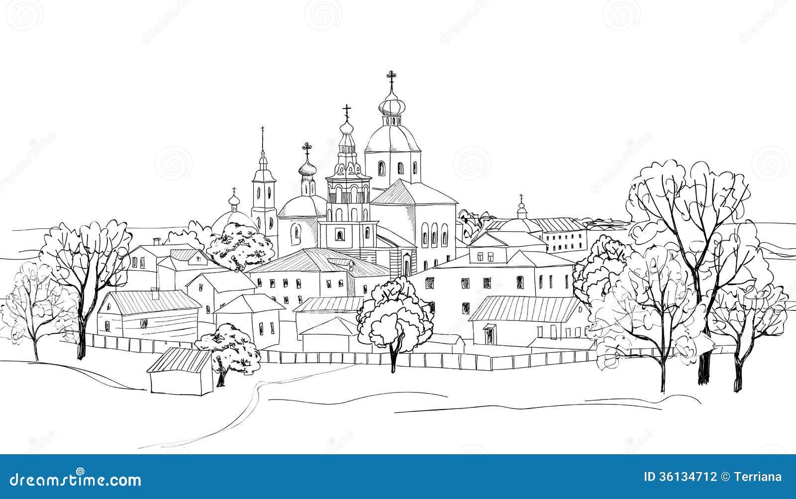 vieux paysage urbain russe de ville dessin de croquis de vue de ville de suzdal l 39 anneau d 39 or. Black Bedroom Furniture Sets. Home Design Ideas