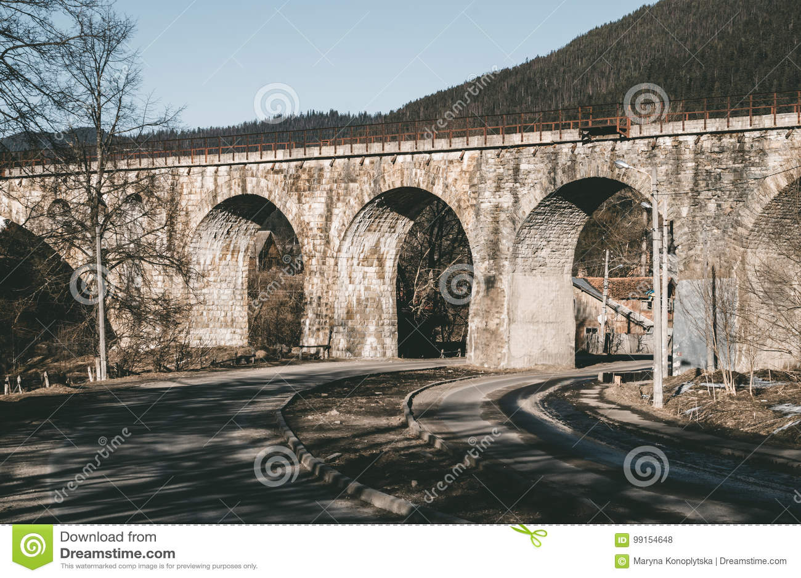 Vieux pont de chemin de fer dans les montagnes carpathiennes Oriental exprimez