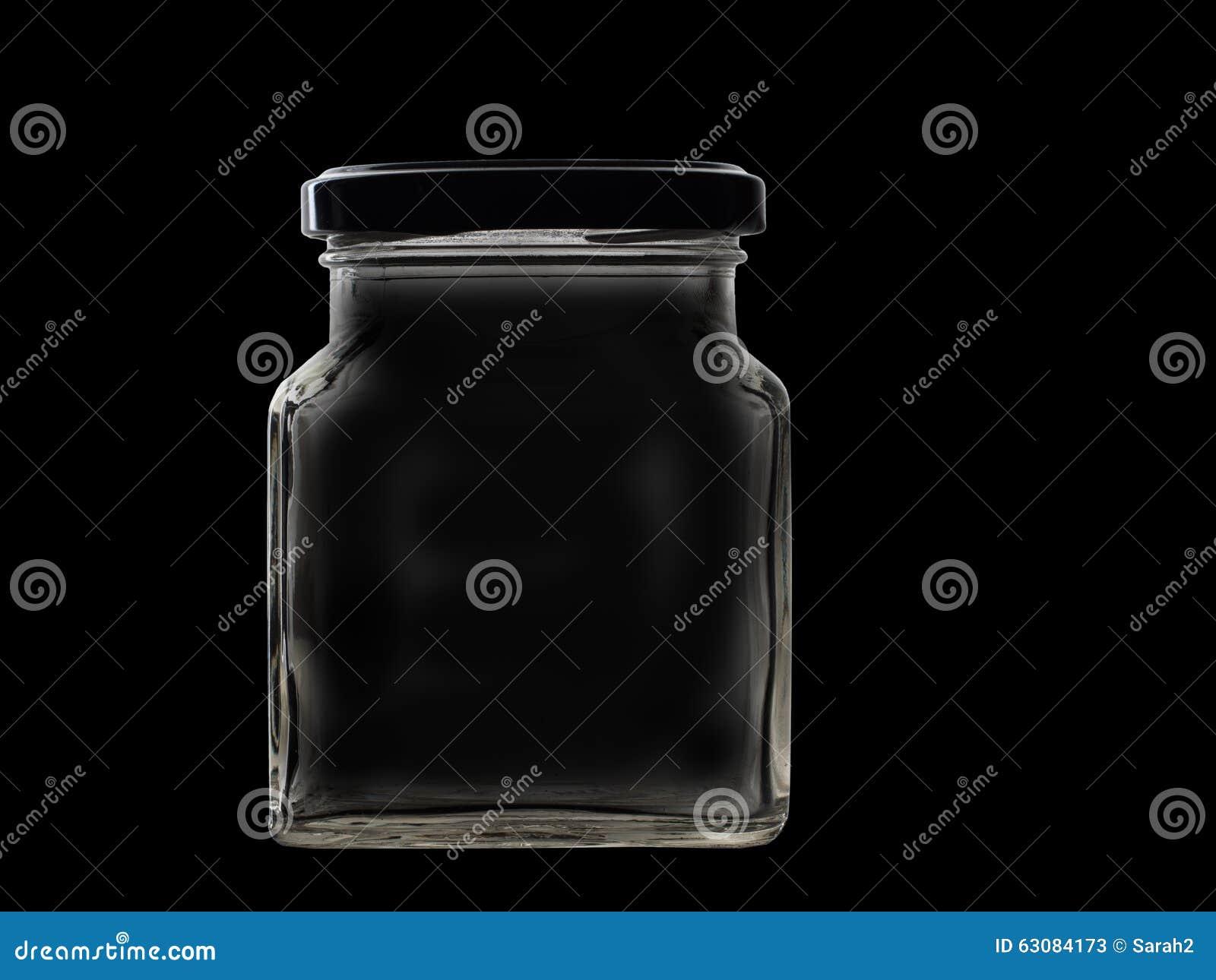 Download Vieux Pot En Verre Carré D'isolement Sur Le Noir Image stock - Image du glace, rétro: 63084173