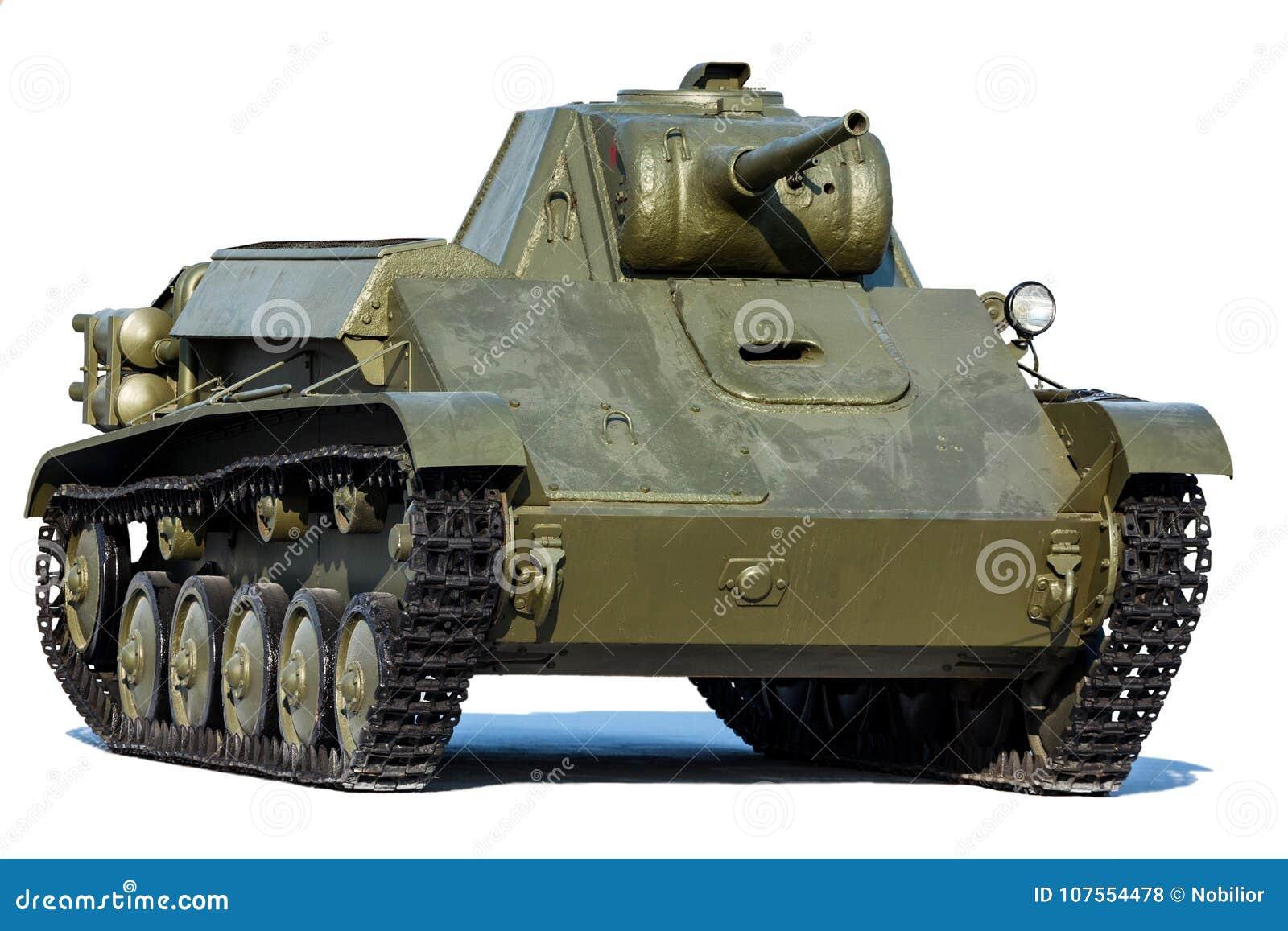 Vieux réservoir soviétique T-70, d isolement sur le blanc
